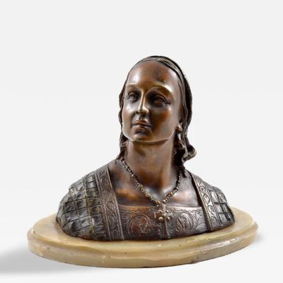 1890s Bronze Bust of Young Lady by Ruxples Onyx Base