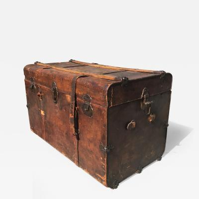 1890s Elegantly Distressed Antique Steamer Travel Trunk Aged Leather Wood Iron