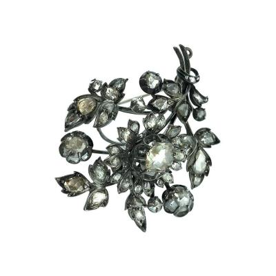 1890s Rose Cut Diamond Silver and White Gold Flower Brooch