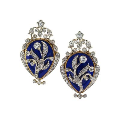1890s Victorian Cobalt Blue Enamel and Diamond Ear Clips