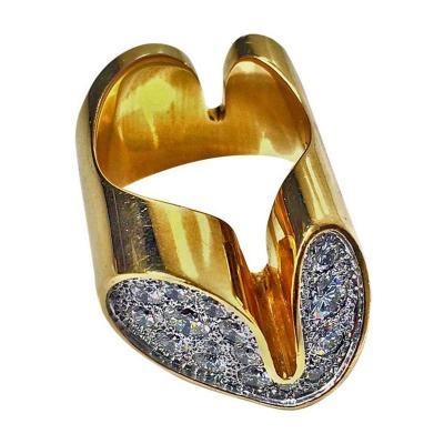 18K Diamond Modernism Ring C 1960