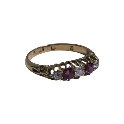 18K Diamond Ruby Ring C 1900