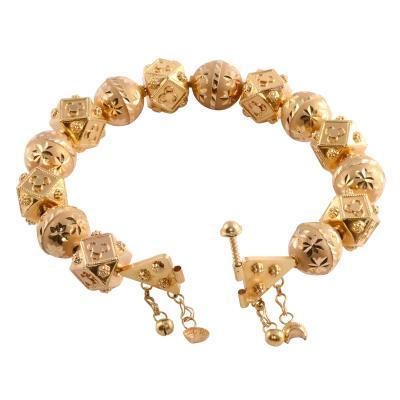 18K Gold Fancy Beaded Bangle Bracelet