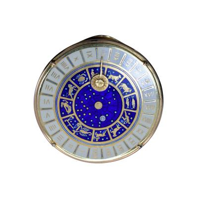 18K Gold Guilloche Enamel Astrological Pill Box