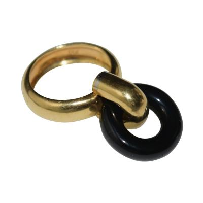 18K Gold Onyx Loop Ring