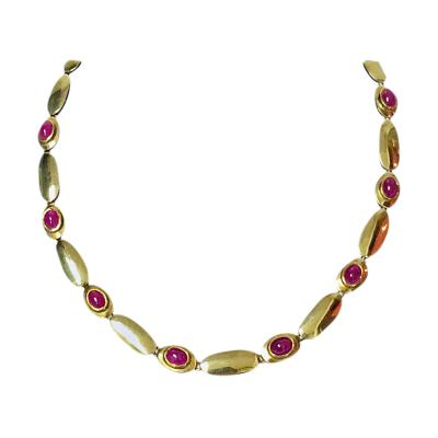 18K Rose Gold Cabochon Ruby Necklace and Bracelet