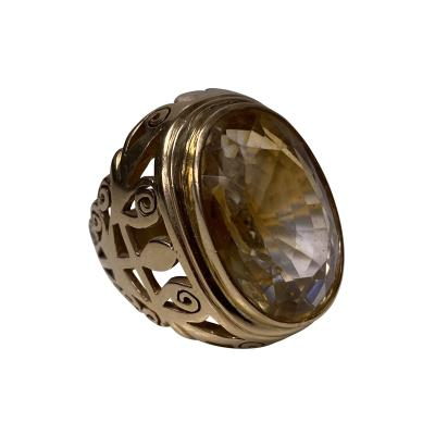 18K Rose Gold Large Citrine Ring C 1950