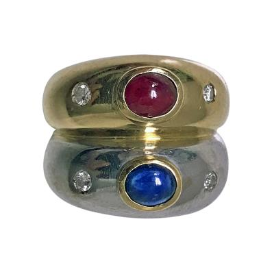 18K Sapphire Ruby Diamond Two Color Gold Double Band Ring Mings c 1970