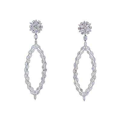 18K WHITE GOLD 16 CARAT MARQUISE ROUND DANGLING DROP EARRINGS