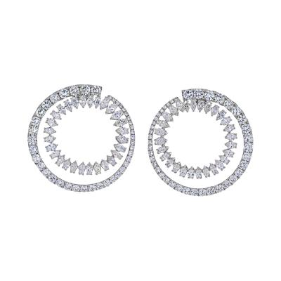 18K WHITE GOLD OPEN CIRCLE MARQUISE ROUND CUT DIAMOND HOOP EARRINGS
