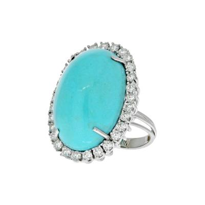 18K WHITE GOLD OVAL TURQUOISE AND DIAMOND RING
