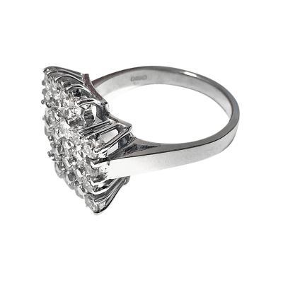 18K White Gold Diamond Ring 20th Century