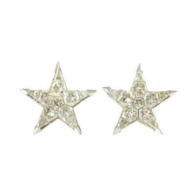 18K White Gold Star Diamond Earrings