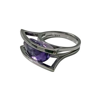 18K White Gold and Amethyst Modernist Abstract Ring 20th Century