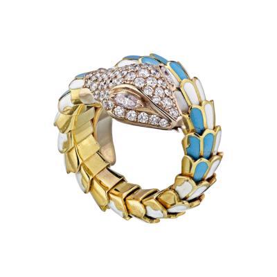 18K YELLOW GOLD TURQUOISE AND WHITE ENAMEL DIAMOND SERPENT SNAKE RING