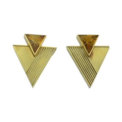 18K Yellow Gold Citrine Triangle Earrings