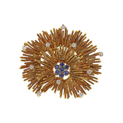 18K Yellow Gold Diamond and Sapphire Coral Brooch Pin