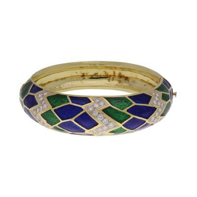 18K Yellow Gold Enamel Diamond Bangle Bracelet