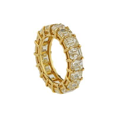 18K Yellow Gold Natural Yellow Emerald Cut Diamond Eternity Band Ring
