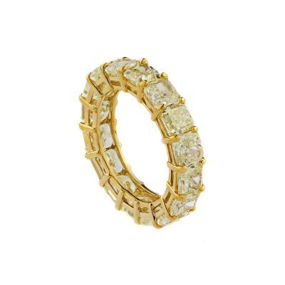 18K Yellow Gold Natural Yellow Radiant Cut Diamond Eternity Band Ring
