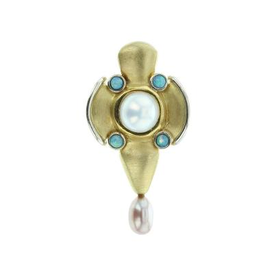 18K Yellow Gold Pearl and Opal Pendant