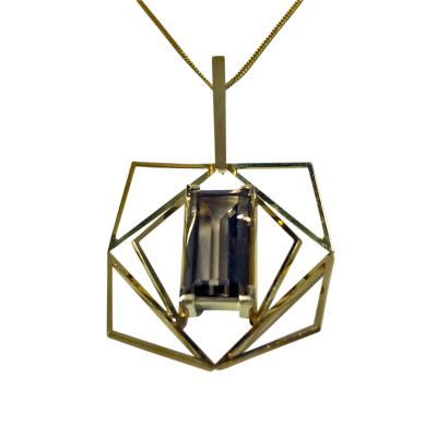 18K and Quartz Abstract Pendant Necklace c 1960