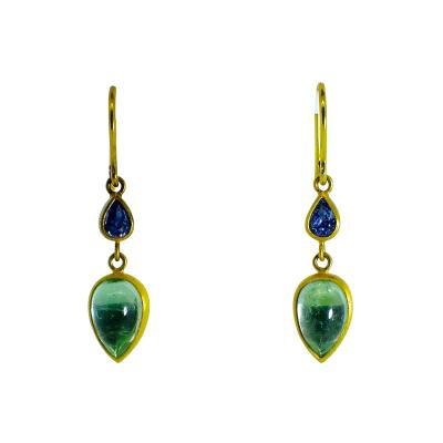 18K dangling earrings with pastel color sapphires and emeralds