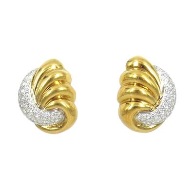 18KT WHITE AND YELLOW GOLD DIAMOND FLUTED EARRINGS