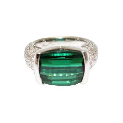 18KT White Gold 8 CT Natural Chrome Tourmaline and 2 CT Diamond Ring