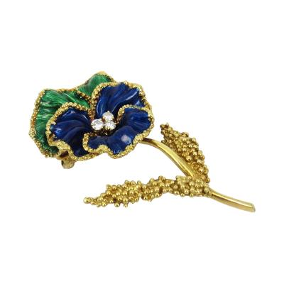 18KT YELLOW GOLD BLUE GREEN ENAMEL FLOWER PIN WITH DIAMONDS