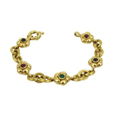 18KT YELLOW GOLD EMERALD RUBY SAPPHIRE FLOWER AND LINK BRACELET