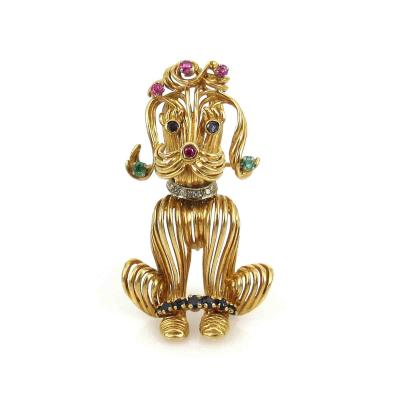 18KT YELLOW GOLD POODLE PIN SET WITH DIAMONDS EMERALDS RUBIES AND SAPPHIRES