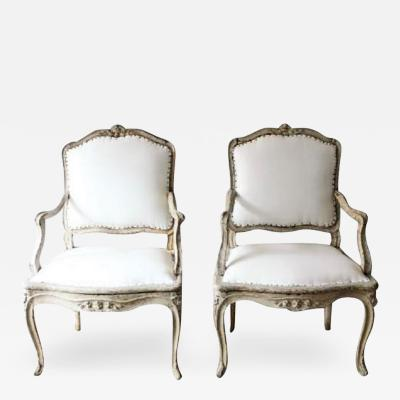 18TH C LOUIS XV ARMCHAIRS SIGNED BLANCHARD PAIR