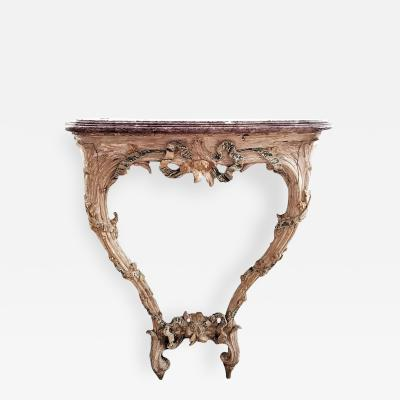 18TH C LOUIS XVI CARVED PAINTED WOOD CONSOLE