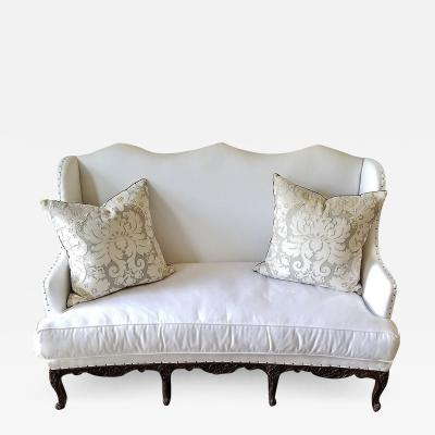 18TH C REGENCE BANQUETTE NEW WHITE UPHOLSTERY