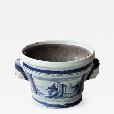 18TH CENTURY BLUE AND WHITE CACHE POT WITH ZINC LINER Circa 1750