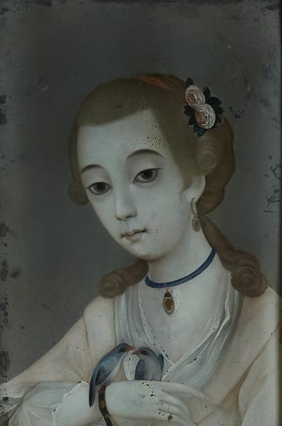 18TH CENTURY CHINESE REVERSE GLASS PAINTING OF YOUNG GIRL WITH TWO BIRDS
