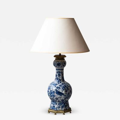 18TH CENTURY DELFT BOTTLE VASE CONVERTED TO A LAMP