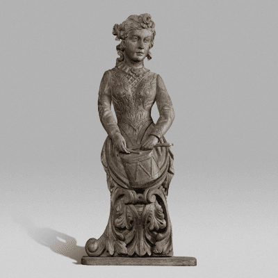 Circus Wagon Figure of a Lady Drummer c 1880