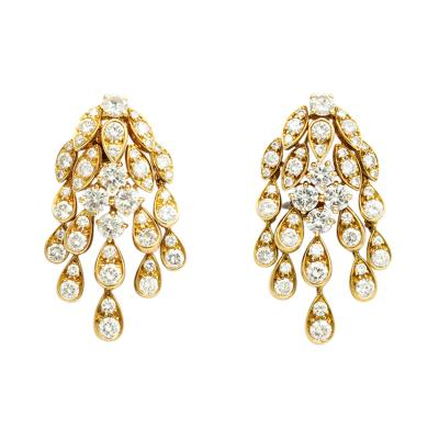 18k Gold Diamond Chandelier Earclips