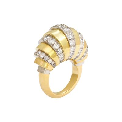 18k Gold Diamond Ring French Made