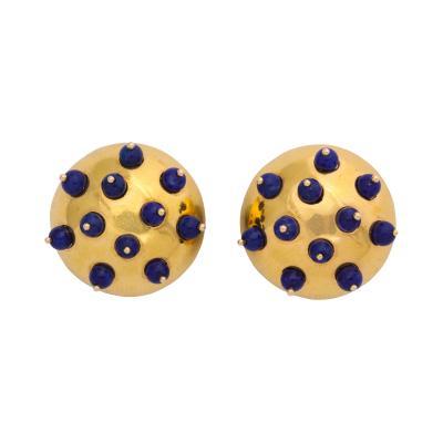 18k Gold Lapis Earclips