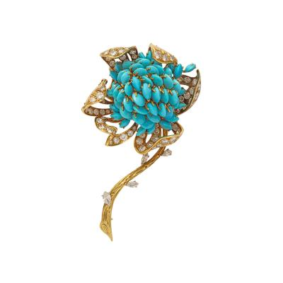 18k Gold Turquoise Diamond Brooch