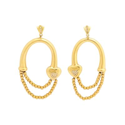 18k drop hoop earrings