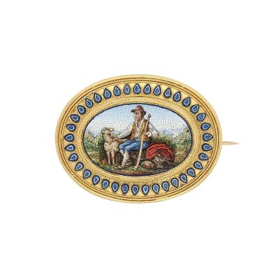 18kt Gold Italian 19th Century Micro Mosaic Brooch