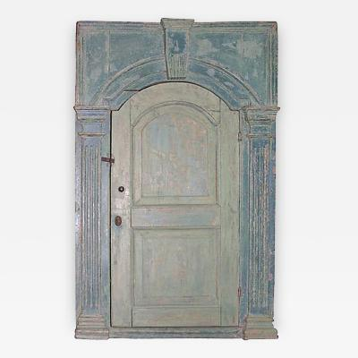18th C English Blue Painted Corner Cupboard