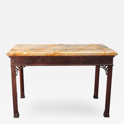 18th C English Chinese Chippendale Slab Table