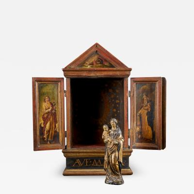18th C Flemish School Madonna and Child in a Wooden Shrine