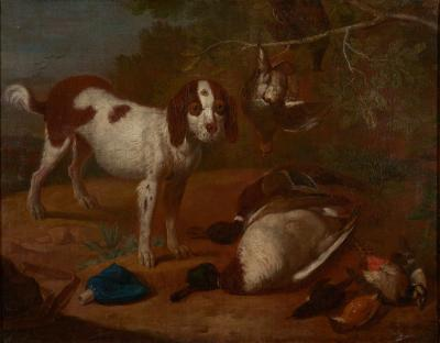 18th C Hunting Scene Dutch School After the Hunt Oil on Canvas
