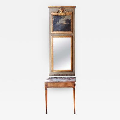 18th C Italian Console and Matching Trumeau Mirror